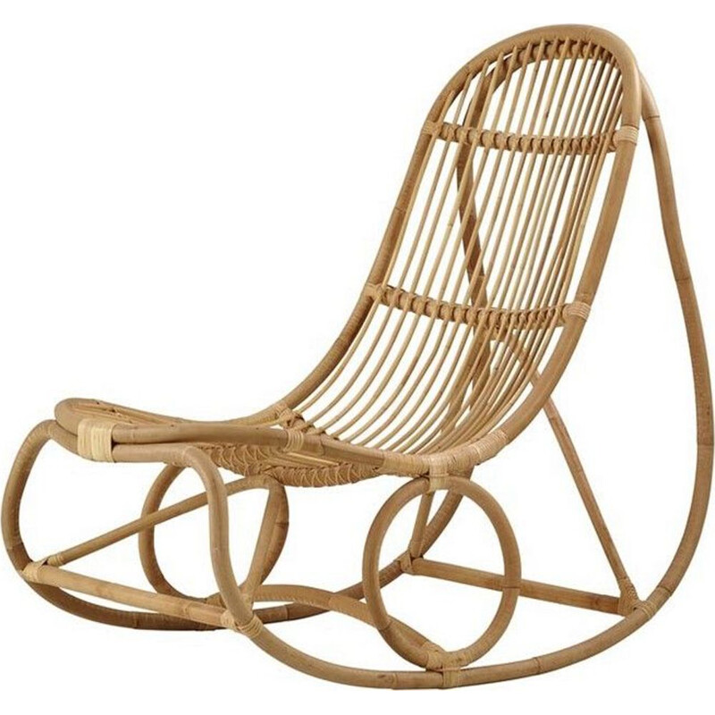 Vintage Rattan rocking chair by Nanna Ditzel 1950s