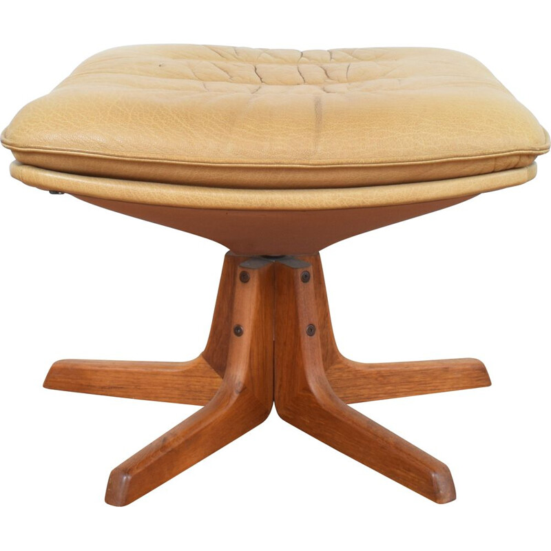 Mid-Century Teak & Leather Ottoman from Berg Furniture 1970s