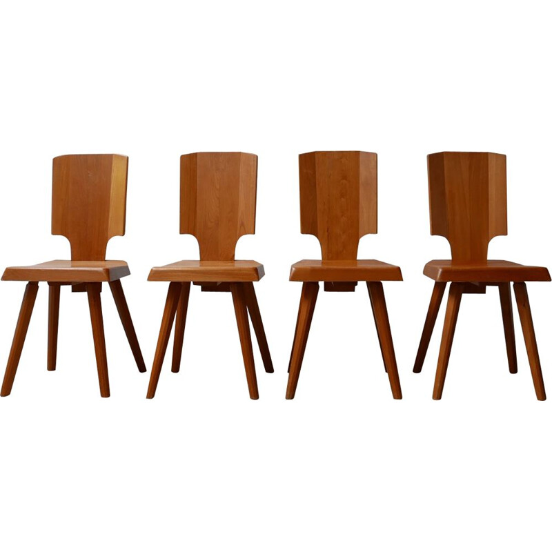 Set of 4 vintage Dining Chairs S28 Elm by Pierre Chapo, French 1970s