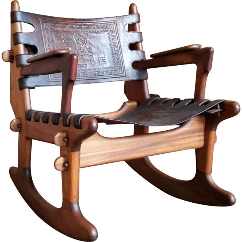 Vintage leather rocking chair by Angel Pazmino 1960s