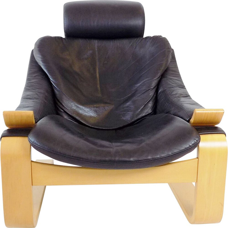 Vintage Nelo Kroken black leather lounge chair by Ake Fribytter 1970s