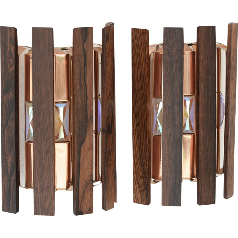 Pair of vintage wall lightssconces by Werner Schou for Coronell Elektro Denmark 1960s