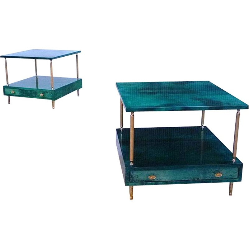 Pair of Italian Tura green side tables, Aldo TURA - 1960s