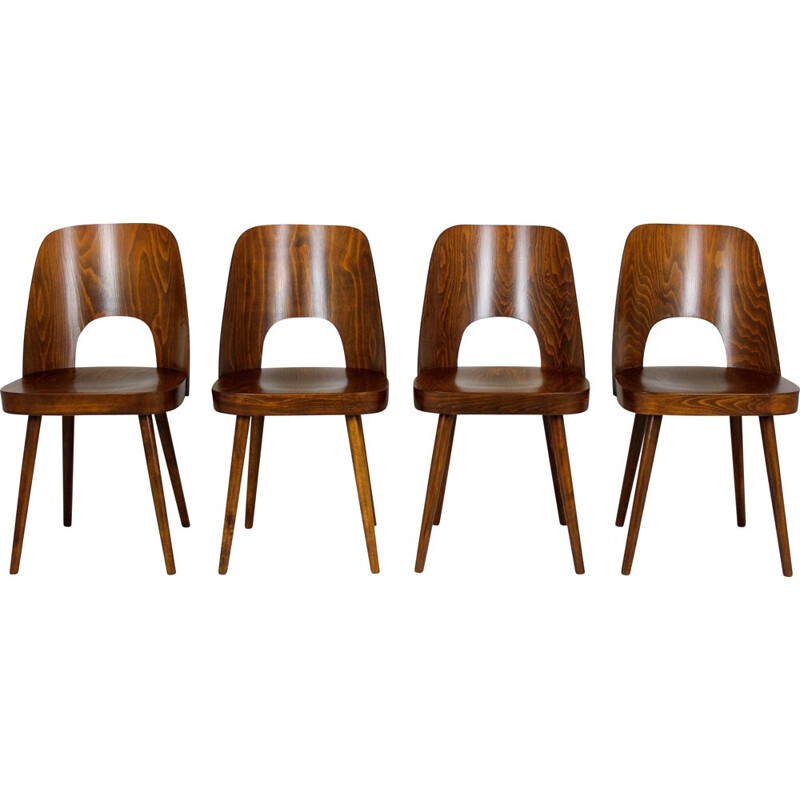 Set of 4 vintage N 515 Wooden Dining Chairs by Oswald Haerdtl for Ton 1950s