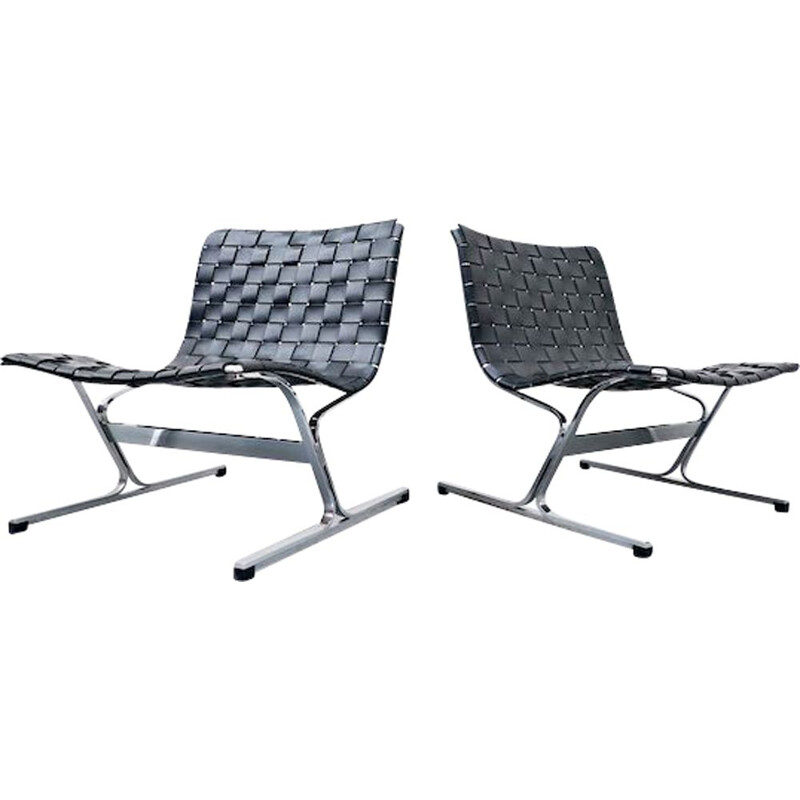 Pair Of vintage lounge Chairs By Ross Littell For ICF, Italian 1970s