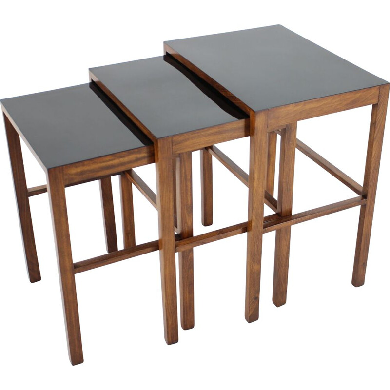 Set of 3 vintage H-50 nesting tables by Jindrich Halabala, Bauhaus, 1930