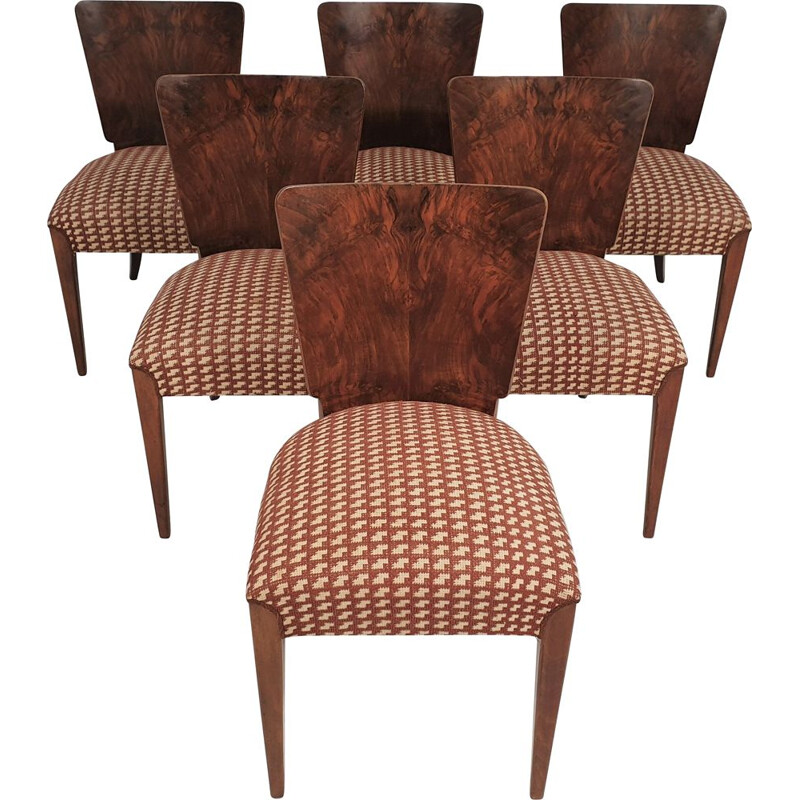 Set of 6 vintage chairs by Jindřich Halabala, Art Deco 1940