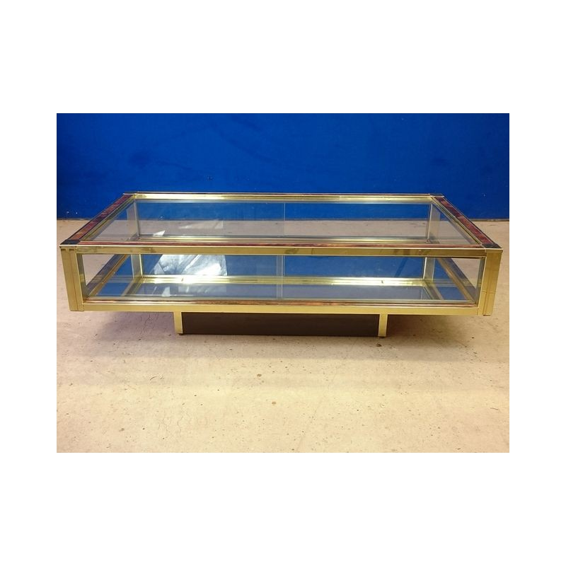 Mid-Century Coffee Table In Glass And Brass