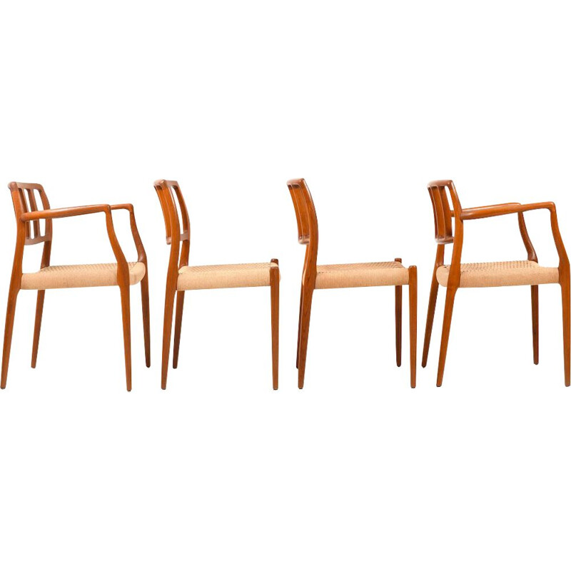 Set of 4 vintage Model 8366 Teak Dining Chairs by Niels O. Moller 1960s