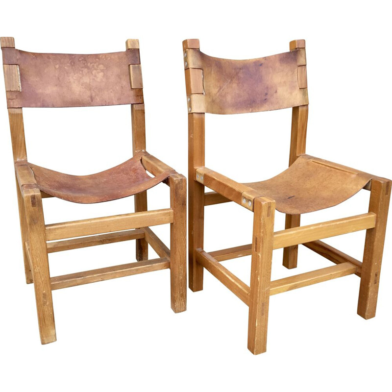 Pair of vintage chapo stone chairs 1980s