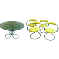 Tecnosalotto dining room table and four chairs - 1960s