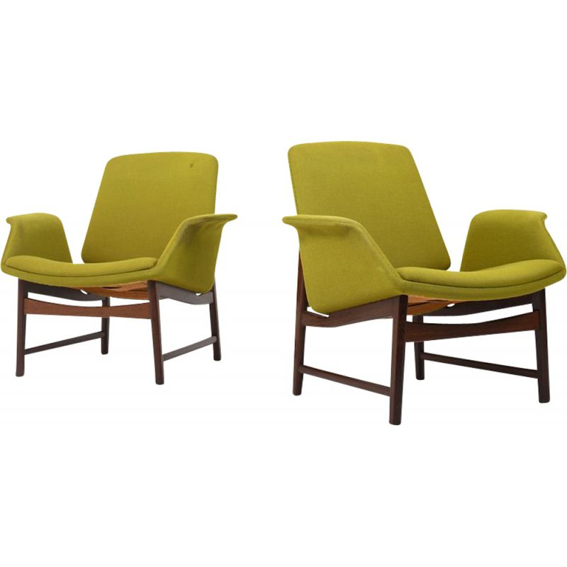 Pair of vintage Easychairs Mod. 451 by Illum Wikkelso, Danish 1960s