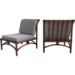 Pair of grey low chairs in bamboo and leather - 1960s