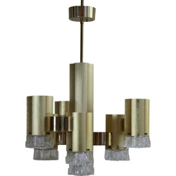 Italian chandelier in Murano glass and bronze, Gaetano SCIOLARI - 1970s