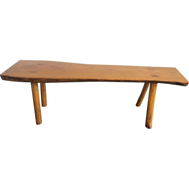 Vintage bench in solid elm, Brutalist 1960s