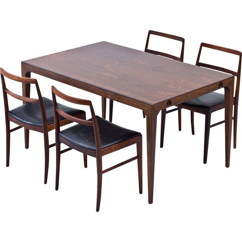Vintage rosewood dining table by Poul Hundevad & Kai Winding, Danish 1950