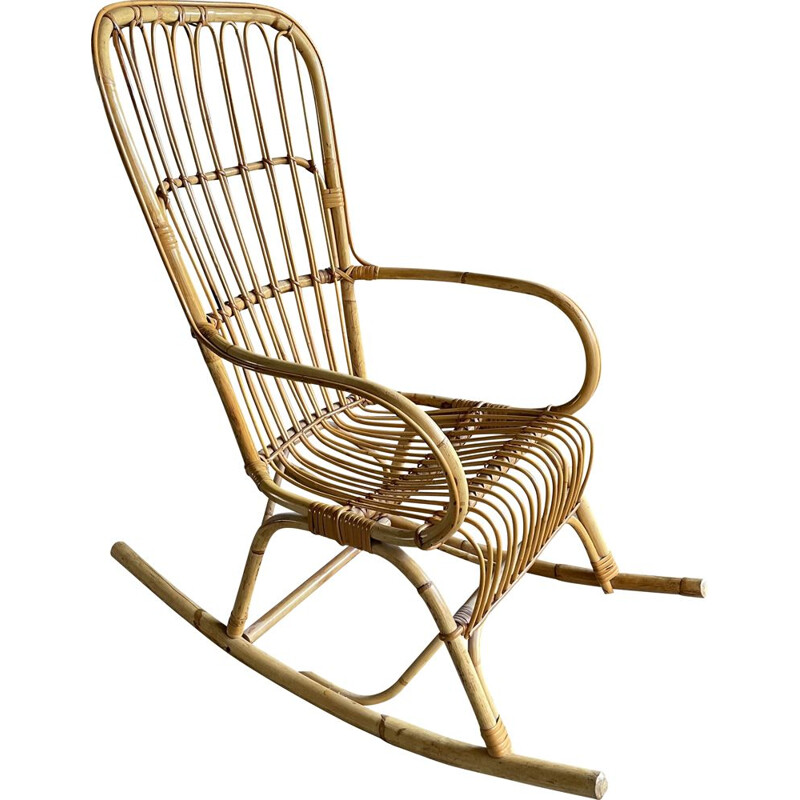 Vintage rattan rocking chair 1960