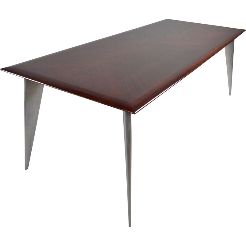 Vintage M dining table in African mahogany by Philippe Starck for Aleph Driade 1987