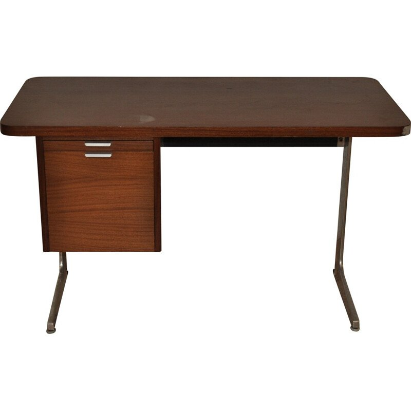 Mid-century desk in formica and brushed metal, George NELSON - 1950s