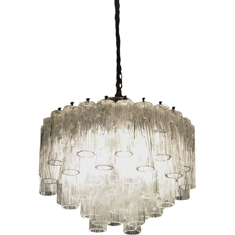 Large vintage Murano glass chandelier by Barovier & Toso 1960