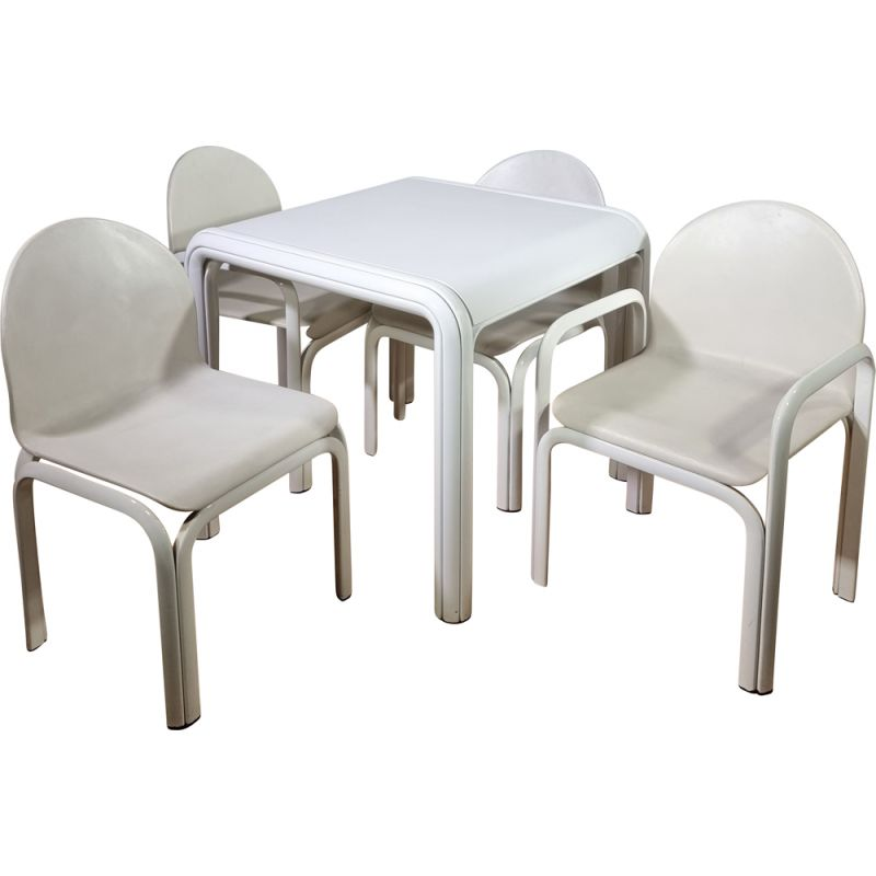 Vintage Orsay table and 4 chairs set by Gae Aulenti for Knoll 1975s