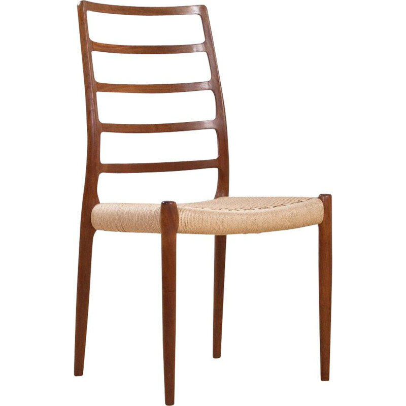 Vintage dining chair in teak and new seating by Nils O. Moller for J.L. Møller Mobelfabrik, Scandinavian 1960s