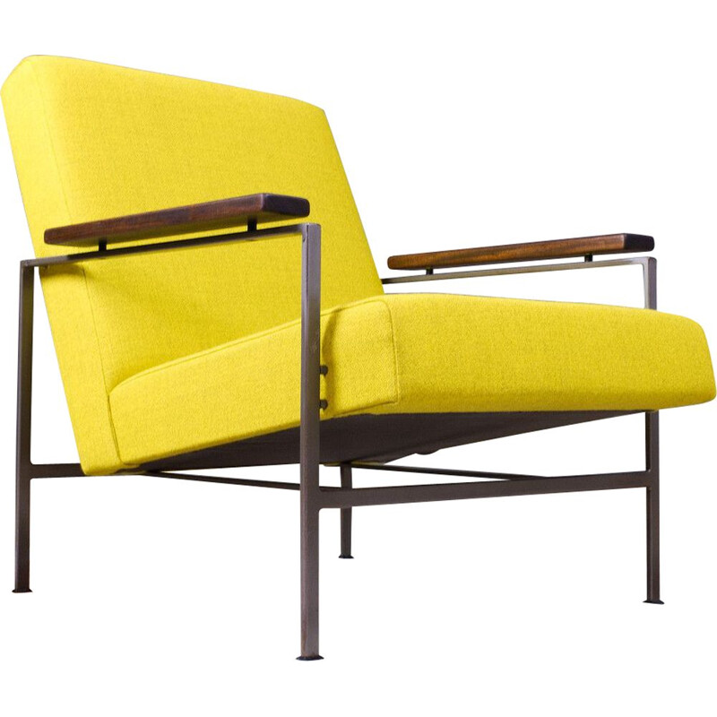 Vintage lounge chair in yellow wool Lotus model by Rob Parry 1960s