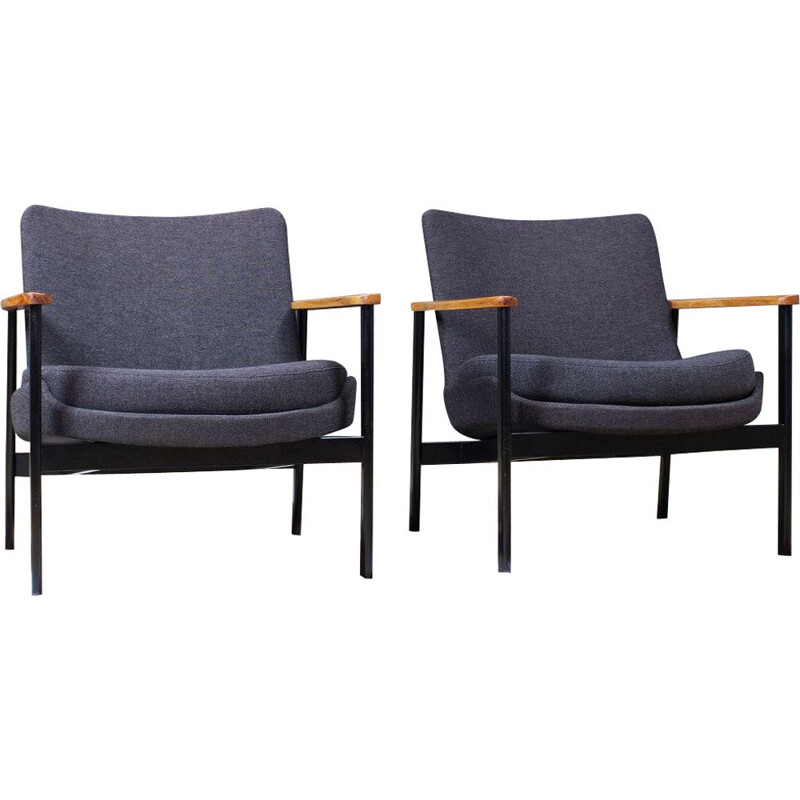 Pair of vintage Ib Kofod Larsen lounge chairs in dark grey wool on black metal frame for Fröscher 1972s