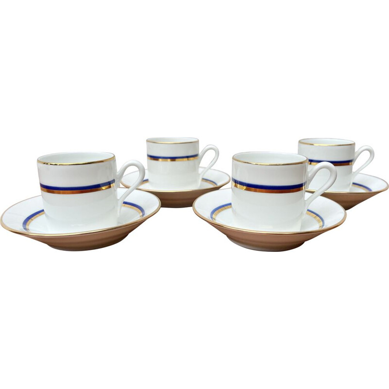 Set of 4 vintage Espresso Cups and Saucers Blue Gold by Richard Ginori, Italy