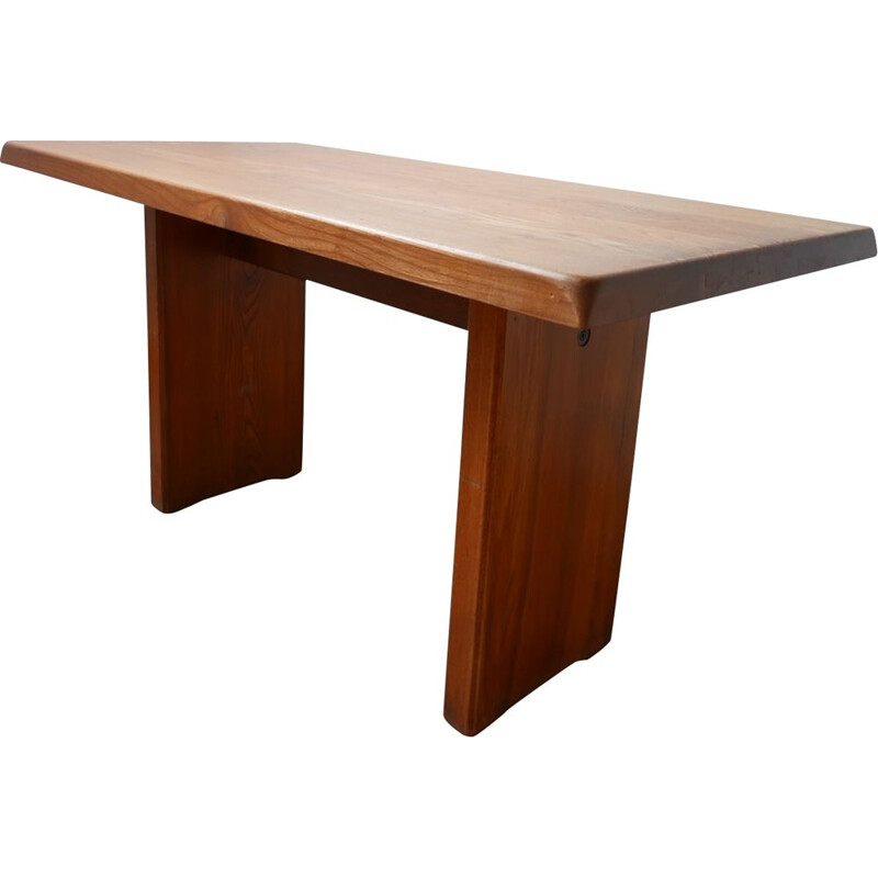 Vintage Pierre Chapo T14 Elm Dining Table, French 1970s