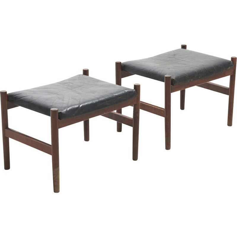 Pair of vintage Footstools by Hugo Frandsen for Spottrup Mobelfabrik, Denmark 1960s