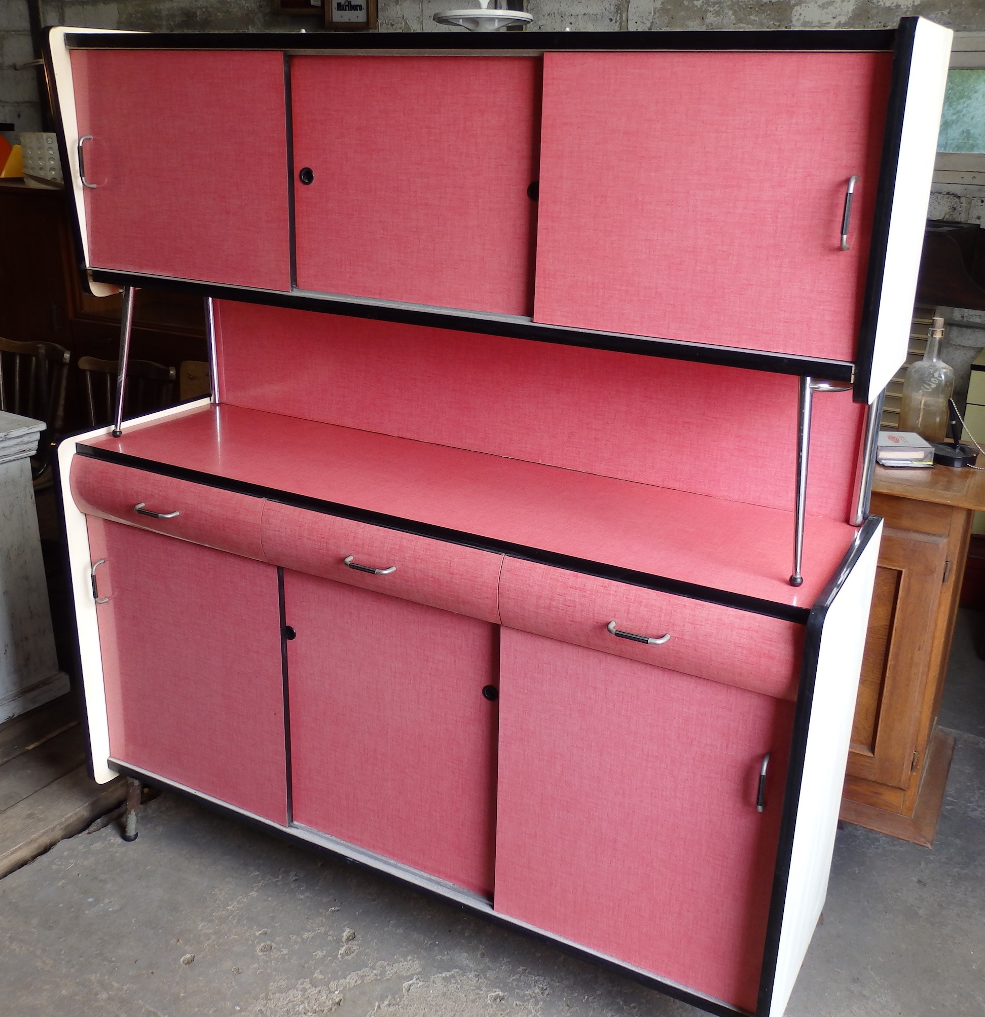 Mid Century Pink Kitchen Cabinet In Formica 1960s Design Market