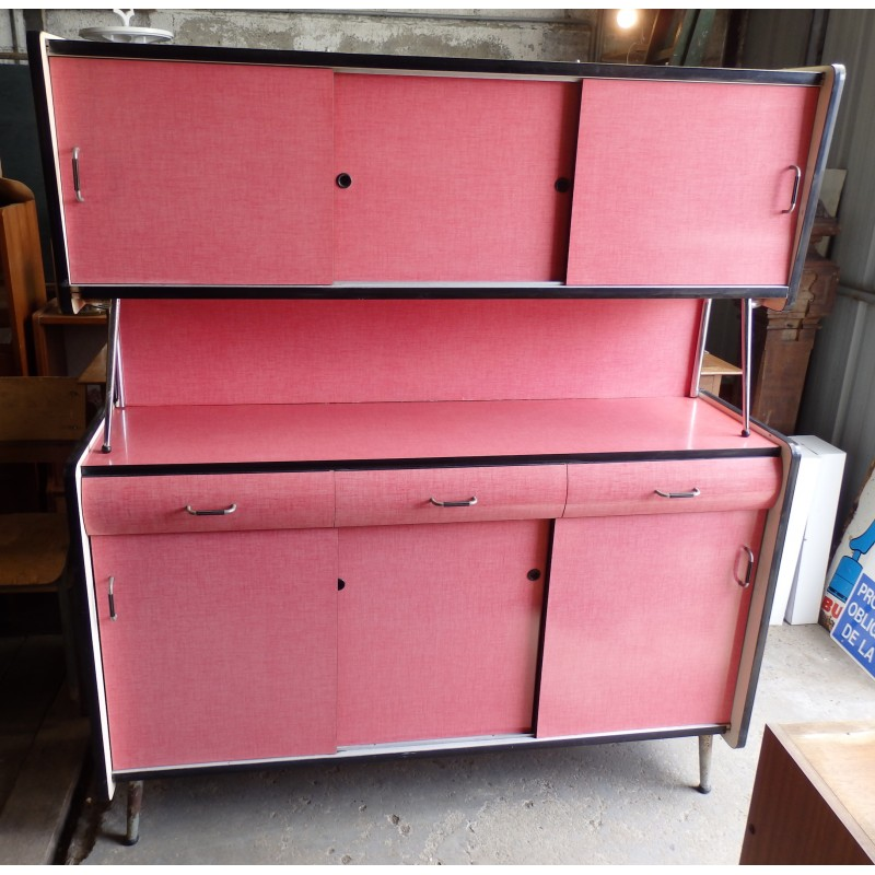 Mid-Century pink kitchen cabinet in formica - 1960s ...