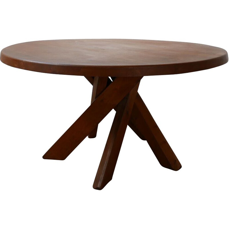 Vintage T21 Circular Elm Dining Table by Pierre Chapo, France 1970s