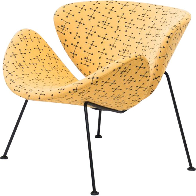 "Vintage Artifort ""Small Dot Pattern"" Orange Slice lounge chair by Pierre Paulin & Charles and Ray Eames, Netherlands"