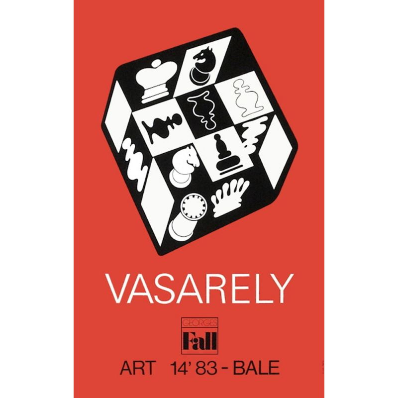 Vintage poster Red Chess by Victor Vasarely 1983s