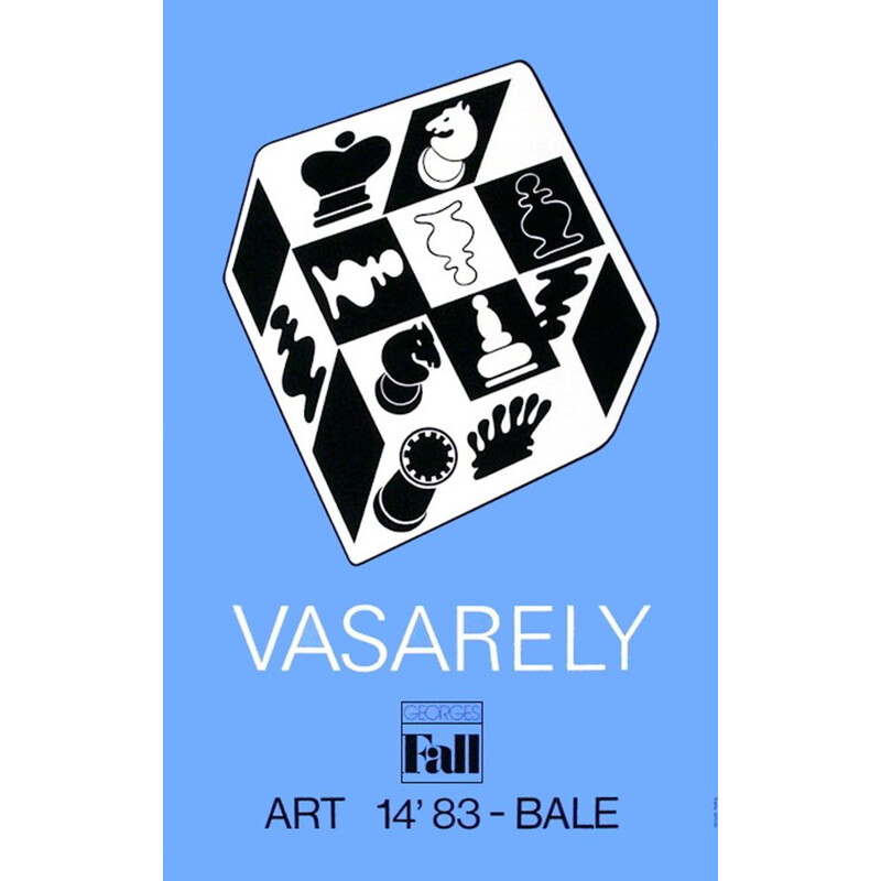 Vintage poster Blue Chess by Victor Vasarely 1983s