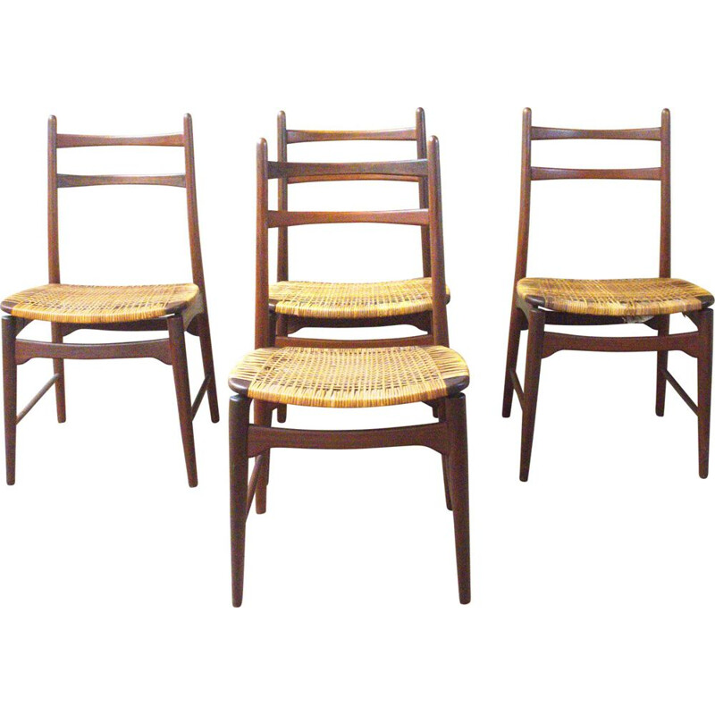 Set of 4 vintage Teakchairs from Georg Leowald for Wilkhahn, Germany 1950s