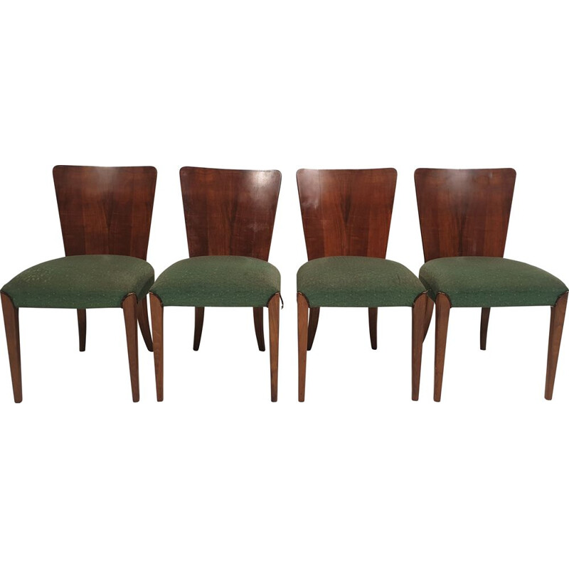 Set of 4 vintage Art Deco chairs by Jindřich Halabala 1940