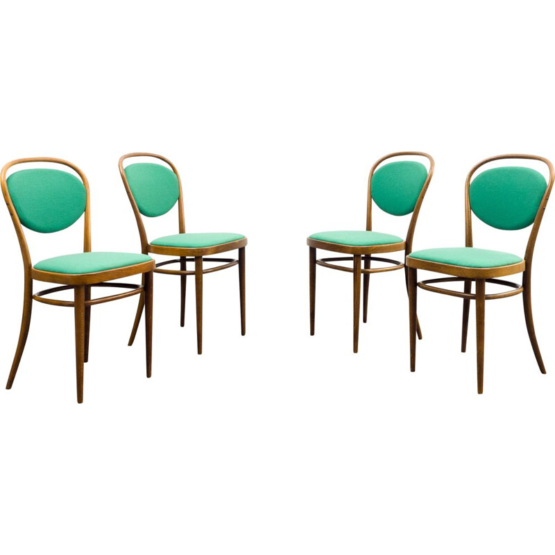 Set of 4 vintage coffee chairs model 215 P by Thonet