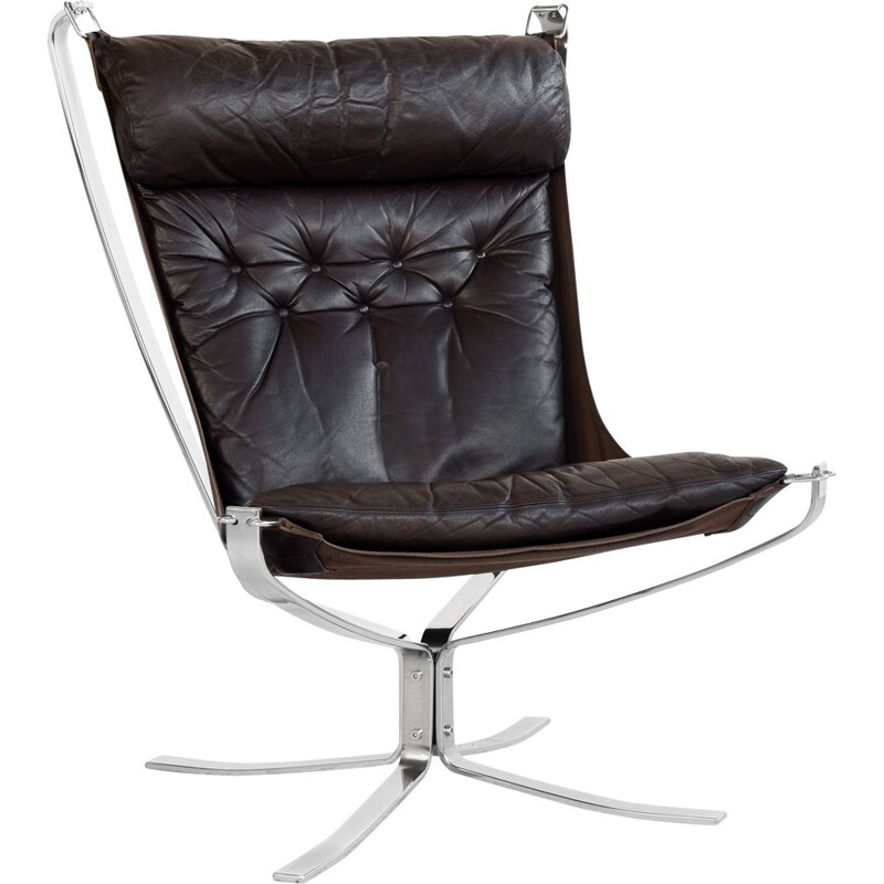 Vintage Falcon armchair in chrome and leather by Sigurd Ressell for Vatne Möbler 1970