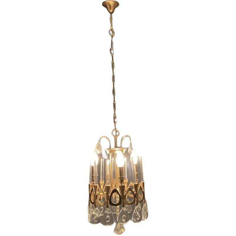 Vintage Crystal and Gold Chandelier by Gaetano Sciolari 1970s