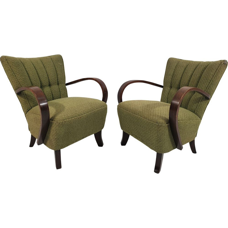 Pair of vintage Lounge Chairs by Jindřich Halabala 1950s