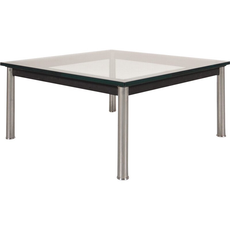 Italian Cassina coffee table in metal and glass, LE CORBUSIER, J. JEANNERET, C. PERRIAND - 1980s