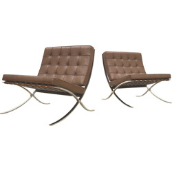 Pair of Knoll Barcelona armchairs in brown leather, Mies VAN DER ROHE - 2000
