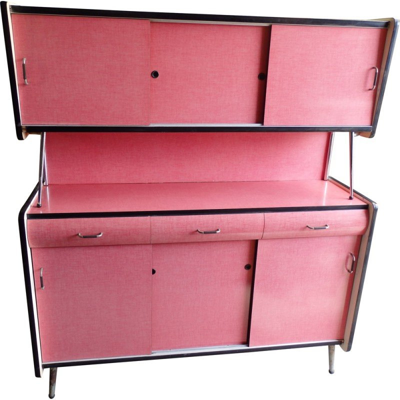 Formica Kitchen Cabinet: Mid-Century Pink Kitchen Cabinet In Formica