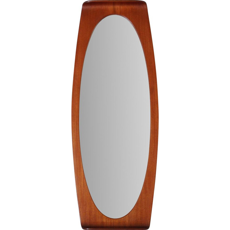 Vintage teak wall mirror by Franco Campo and Carlo Graffi 1950s