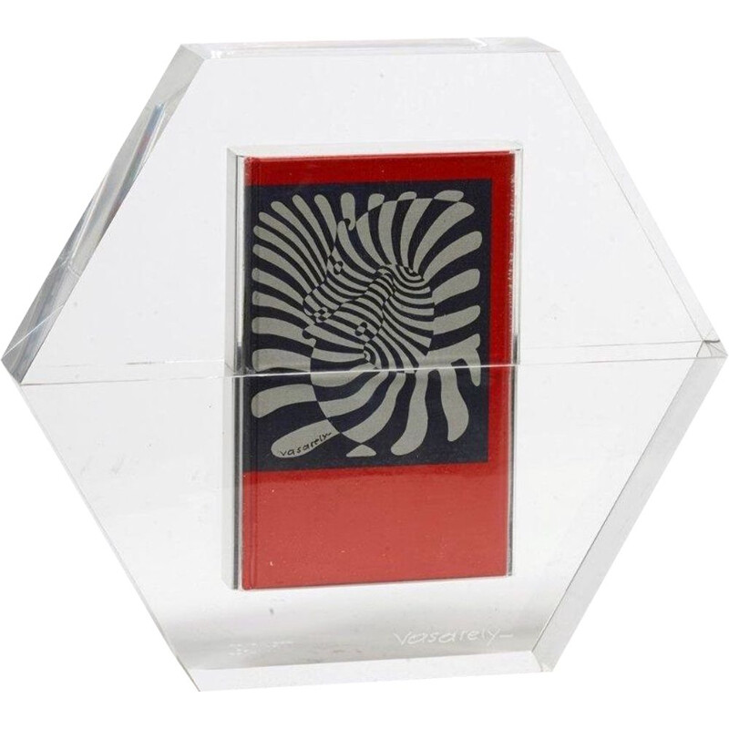 Vintage sculpture Hexagon by Victor Vasarely 1988s