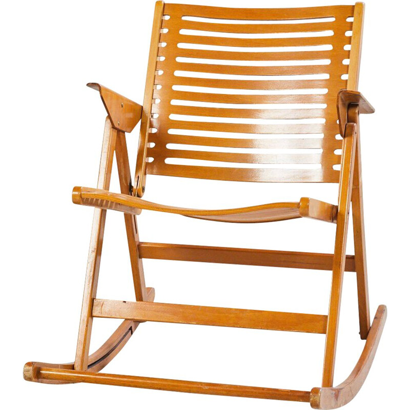 Vintage Rex foldable Rocking Chair by Niko Kralj for Impakta Les 1970s