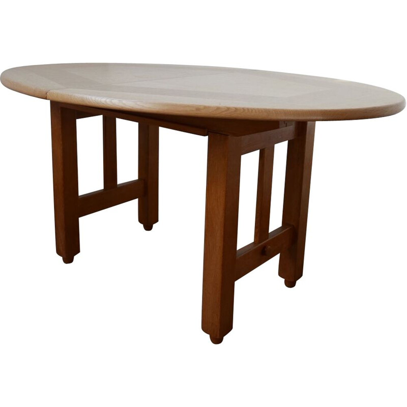 Vintage Oak Oval Extendable Dining Table by Guillerme et Chambron, France 1970s